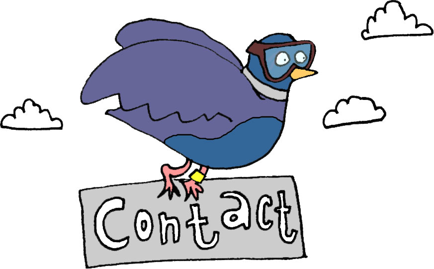 illustration of pigeon carrying sign saying contact while flying