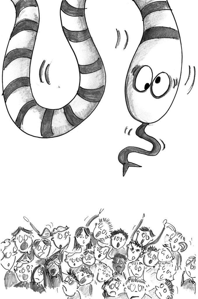 black and white illustration of large snake scaring children below