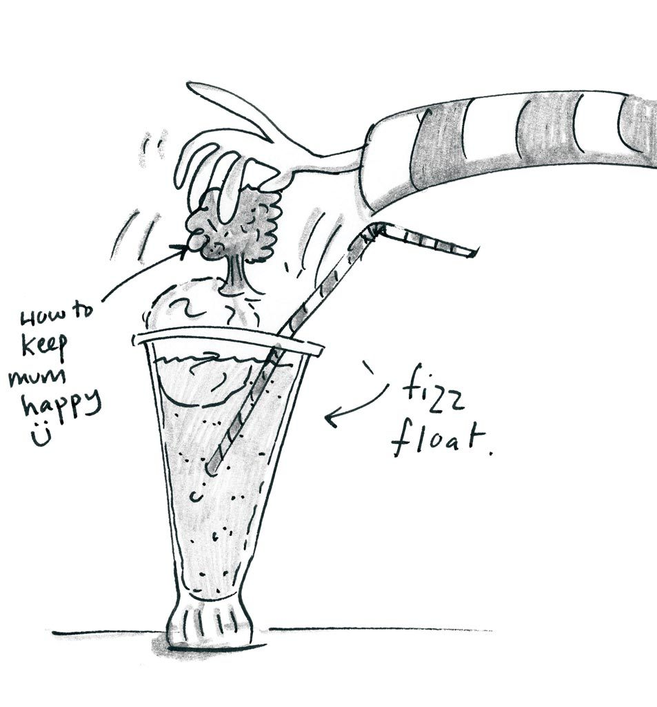 black and white illustration of ice cream float being made