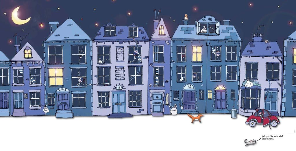 colour illustration of Grandma Bendy burgling several houses in a terrace at night