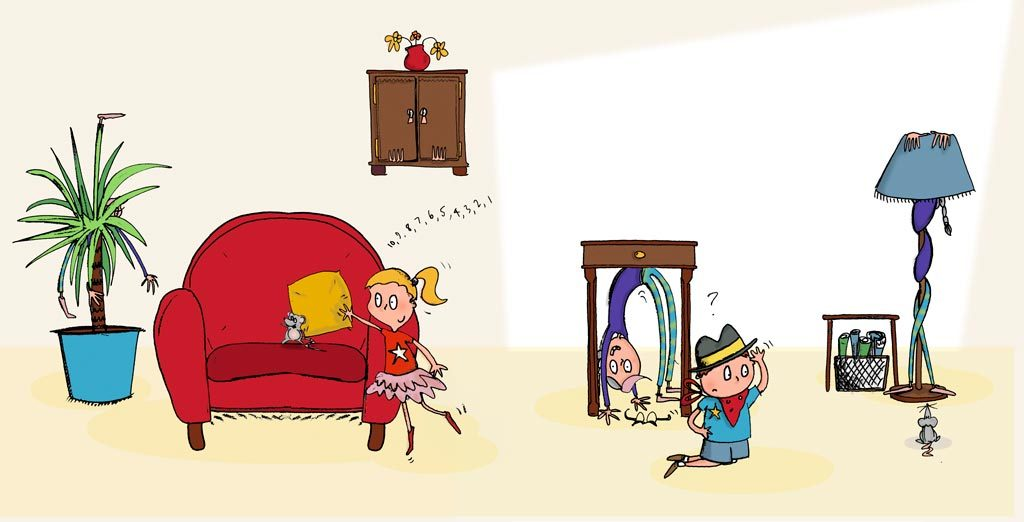 colour illustration of two children playing hide and seek with Grandma Bendy