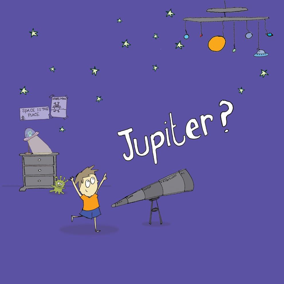colour illustration of child imagining lightbulb as jupiter