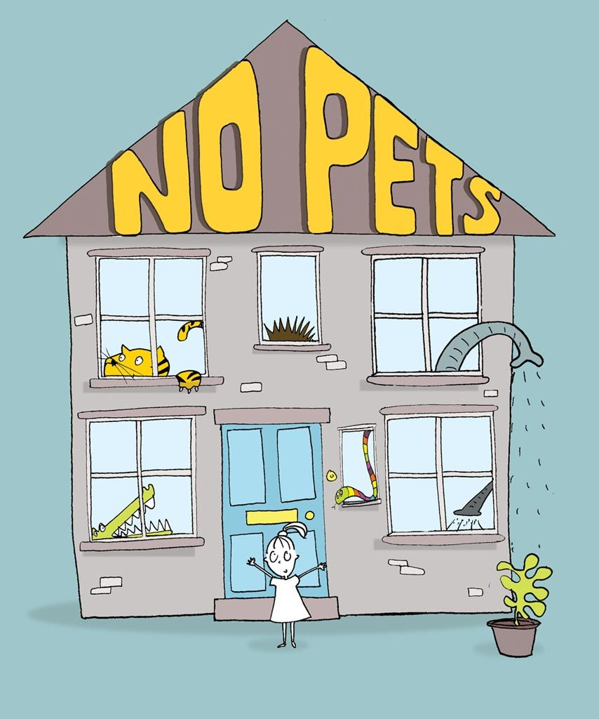 colour illustration book cover of child standing in front of house with no pets written on the roof