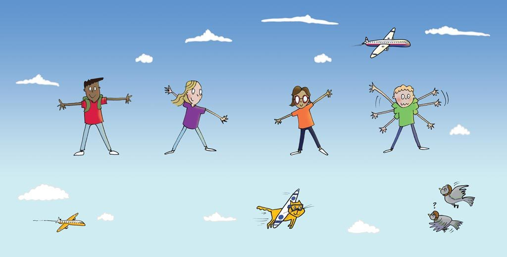 colour illustration of children performing aeroplane yoga pose
