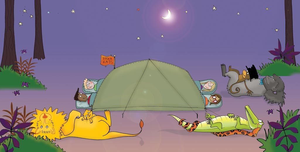 colour illustration of children doing shavasana relaxation under starlit sky