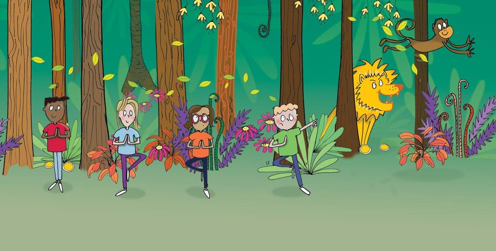 colour illustration of children in jungle performing yoga tree pose